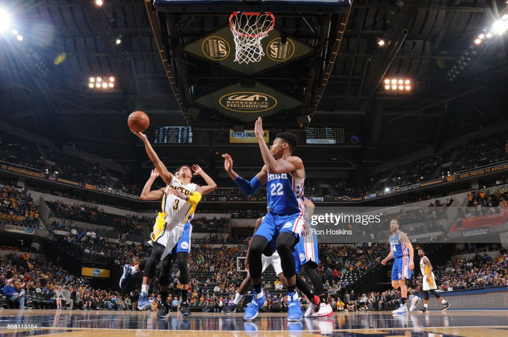 Joe Young #3 of the Indiana Pacers goes to the basket against the Philadelphia 76ers on March 26, 2017 at Bankers Life Fieldhouse in Indianapolis, Indiana.