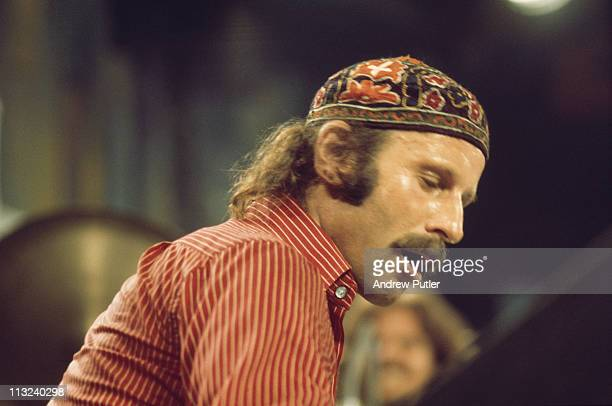 Joe Zawinul , keyboard player with Weather Report, during a live concert performance by the band at the Montreux Jazz Festival, in Montreux,...