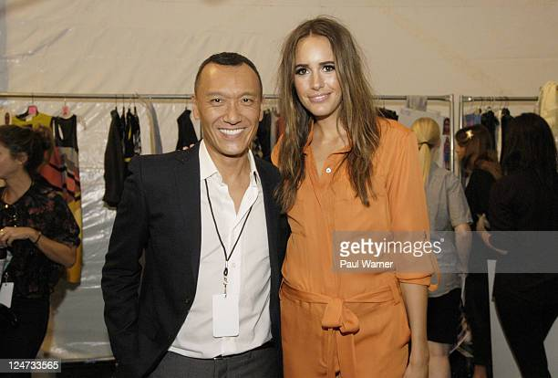 Joe Zee and Louise Roe backstage at the Nicole Miller Spring 2012 fashion show during MercedesBenz Fashion Week at The Studio at Lincoln Center on...