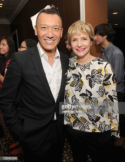 Joe Zee of Elle Magazine and Stylist Lori Goldstein attend the announcement of the Vitaminwater Color Collection winner at the Empire Hotel Rooftop...