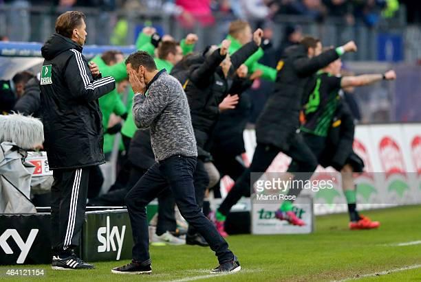 Joe Zinnbauer head coach of Hamburg reacts while Gladbach scores the equalizing goal during the Bundesliga match between Hamburger SV and Borussia...