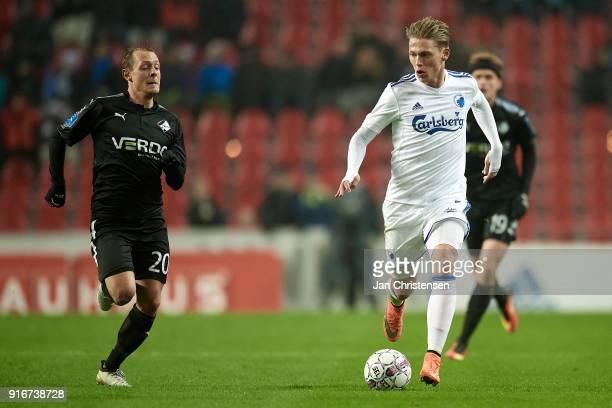 Joel Allansson of Randers FC and Viktor Fischer of FC Copenhagen compete for the ball during the Danish Alka Superliga match between FC Copenhagen...