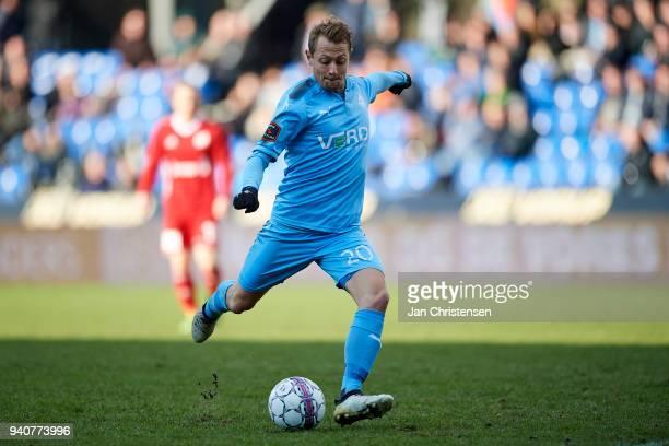 Joel Allansson of Randers FC in action during the Danish Alka Superliga match between Randers FC and Lyngby BK at BioNutria Park Randers on April 01...