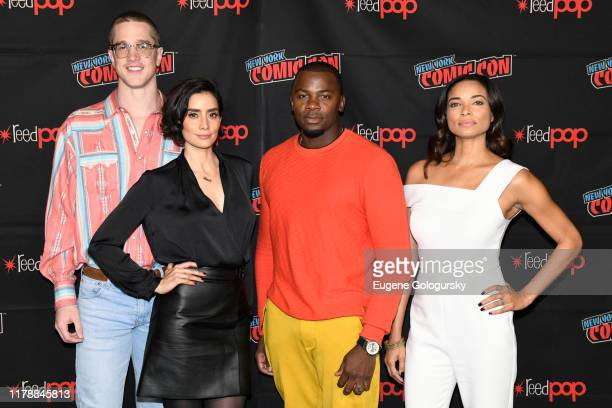 Joel Allen, Paola Núñez, Derek Luke and Rochelle Aytes pose for a photo after the USA's The Purge Premiere Screening and Panel the New York Comic Con...