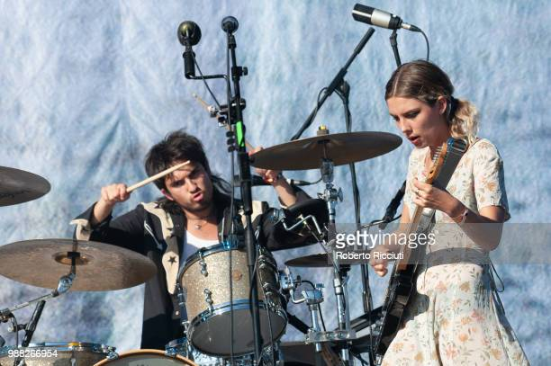 Joel Amey and Ellie Rowsell of Wolf Alice perform on stage during TRNSMT Festival Day 2 at Glasgow Green on June 30 2018 in Glasgow Scotland