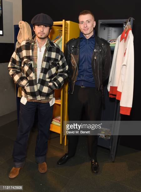 Joel Amey and Theo Ellis attend the Levi's Vintage Clothing SS19 Rocket City Collection party at The Royal Observatory, Greenwich, on March 20, 2019...