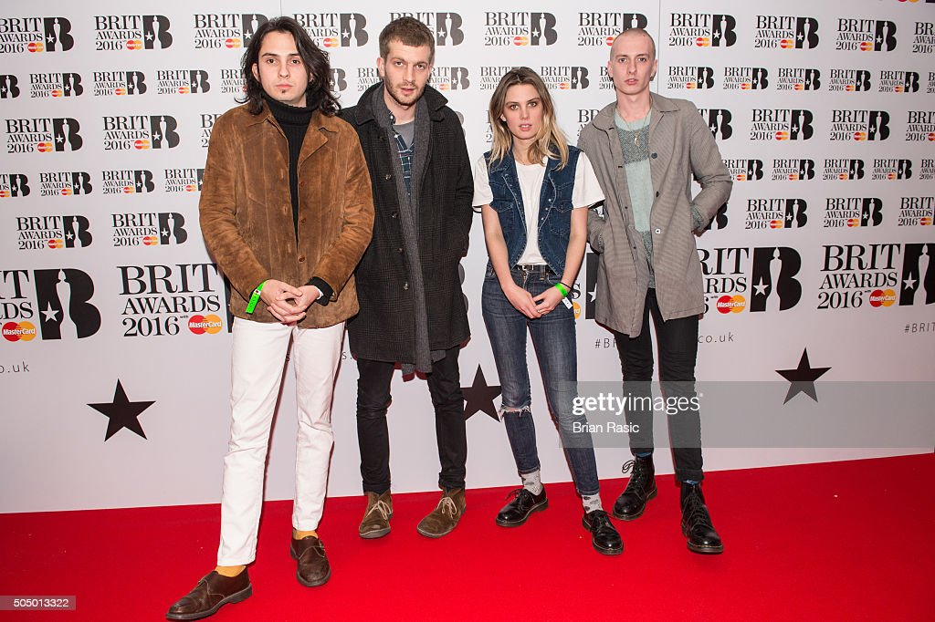 ONLY] Joel Amey, Jeff Oddie, Ellie Rowsell and Theo Ellis of Wolf Alice attend the nominations launch for The Brit Awards 2016 at ITV Studios on January 14, 2016 in London, England.