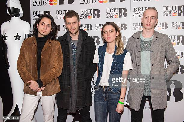 ONLY] Joel Amey Jeff Oddie Ellie Rowsell and Theo Ellis of Wolf Alice attend the nominations launch for The Brit Awards 2016 at ITV Studios on...