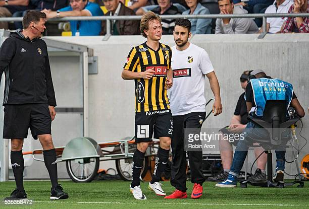 Joel Andersson of BK Hacken in pain and cannot play the rest of the Allsvenskan match between BK Hacken and Djurgardens IF at Bravida Arena on May 29...