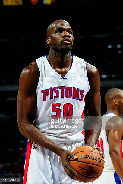 Joel Anthony of the Detroit Pistons attempts a free throw against the Miami Heat on February 3 2015 at The Palace of Auburn Hills in Auburn Hills...