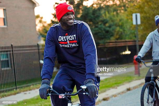 Joel Anthony of the Detroit Pistons participates in the Slow Roll event on October 19 2015 at the Eastern Market and The Detroit Boxing Gym in...
