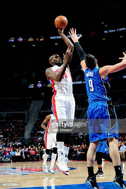Joel Anthony of the Detroit Pistons shoots against the Orlando Magic on January 21 2015 at The Palace of Auburn Hills in Auburn Hills Michigan NOTE...