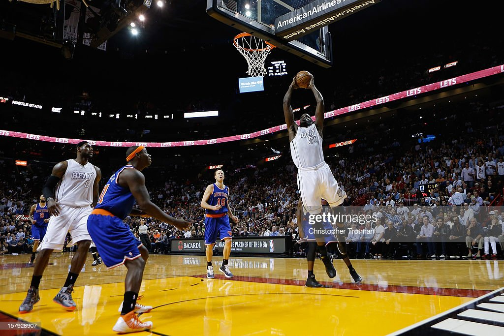 Joel Anthony #50 of the Miami Heat shoots the ball against the New York Knicks at American Airlines Arena on December 6, 2012 in Miami, Florida.