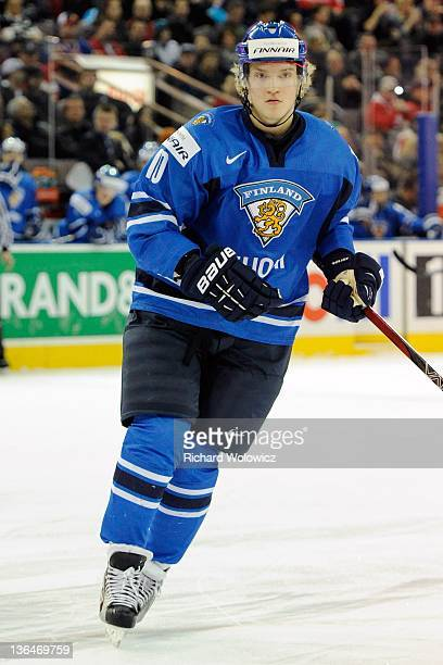 Joel Armia of Team Finland skates during the 2012 World Junior Hockey Championship game against Team Denmark at Rexall Place on December 30 2011 in...
