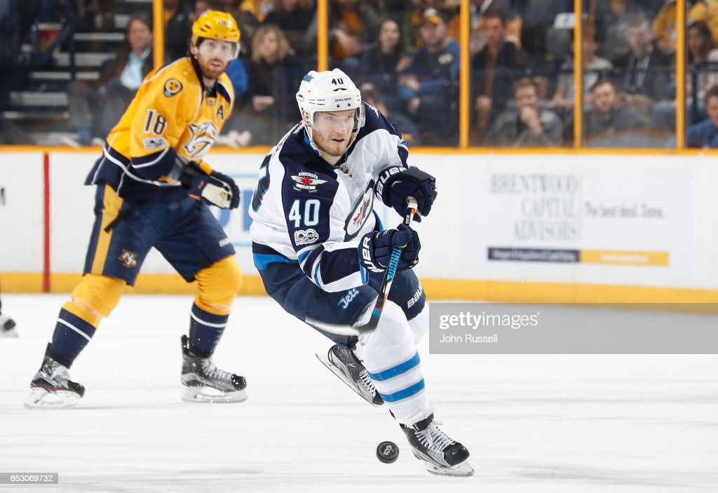 Joel Armia #40 of the Winnipeg Jets skates against the Nashville Predators during an NHL game at Bridgestone Arena on March 13, 2017 in Nashville, Tennessee.
