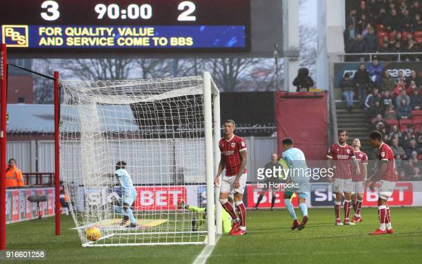 Joel Asoro cross is deflected into the Bristol goal for Sunderlands third goal during the Sky Bet Championship match between Bristol City and...