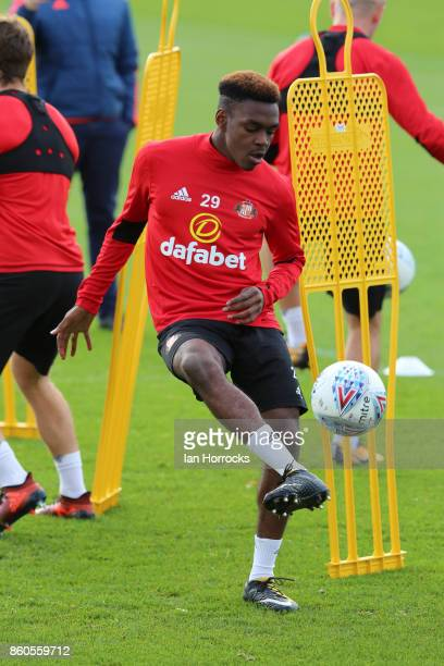 Joel Asoro during a Sunderland AFC training session at The Academy of Light on October 12 2017 in Sunderland England