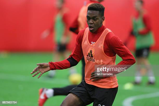 Joel Asoro during an indoor training session at The Academy of Light on November 30 2017 in Sunderland England