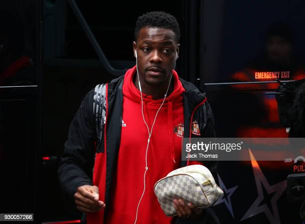 Joel Asoro of Sunderland arrives ahead of the Sky Bet Championship match between QPR and Sunderland at Loftus Road on March 10 2018 in London England