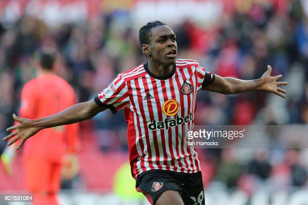 Joel Asoro of Sunderland celebrates after he scores the opening goal during the Sky Bet Championship match between Sunderland and Hull City at...