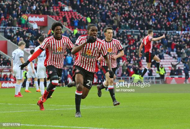 Joel Asoro of Sunderland celebrates after he scores the opening goal during the Sky Bet Championship match between Sunderland and Middlesbrough at...