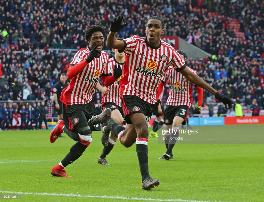 Joel Asoro of Sunderland celebrates after he scores the opening goal during the Sky Bet Championship match between Sunderland and Middlesbrough at Stadium of Light on February 24, 2018 in Sunderland, England.