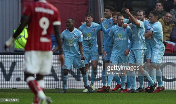 Joel Asoro of Sunderland celebrates after his cross is deflected into the Bristol goal for Sunderlands third goal during the Sky Bet Championship...