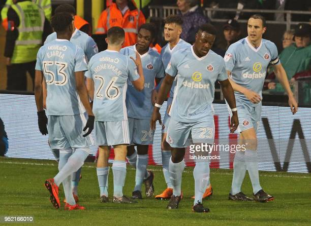 Joel Asoro of Sunderland celebrates opening the scoring during the Sky Bet Championship match between Fulham and Sunderland at Craven Cottage on...