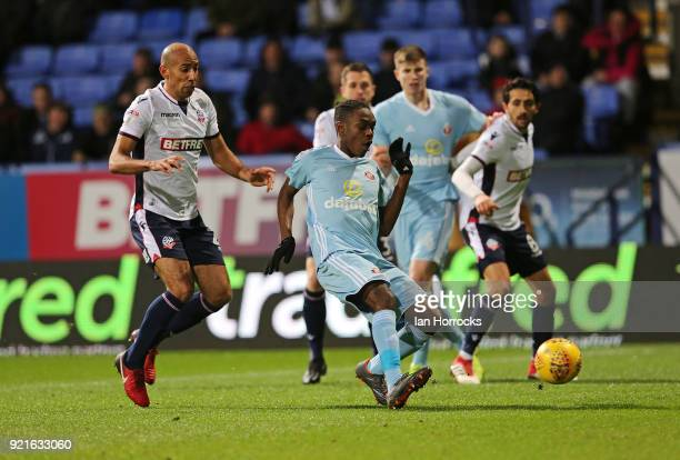 Joel Asoro of Sunderland controls the ball during the Sky Bet Championship match between Bolton Wanderers and Sunderland at Macron Stadium on...