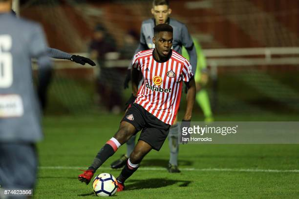 Joel Asoro of Sunderland during the Premier League International Cup match between Sunderland and Legia Warsaw at Eppleton Colliery Welfare Ground on...