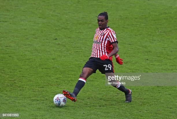 Joel Asoro of Sunderland during the Sky Bet Championship match between Sunderland AFC and Sheffield Wednesday FC at Stadium of Light on April 2 2018...