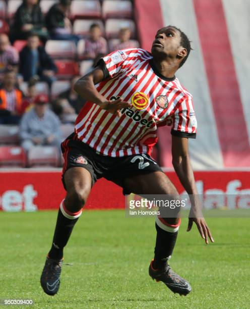 Joel Asoro of Sunderland during the Sky Bet Championship match between Sunderland and Burton Albion at Stadium of Light on April 21 2018 in...
