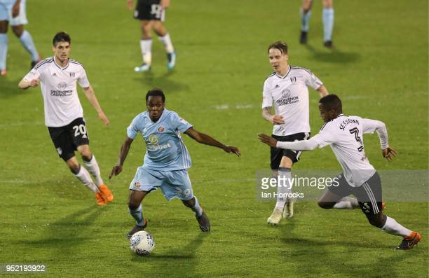 Joel Asoro of Sunderland during the Sky Bet Championship match between Fulham and Sunderland at Craven Cottage on April 27 2018 in London England