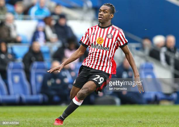 Joel Asoro of Sunderland during the Sky Bet Championship match between Cardiff City and Sunderland at Cardiff City Stadium on January 13 2018 in...