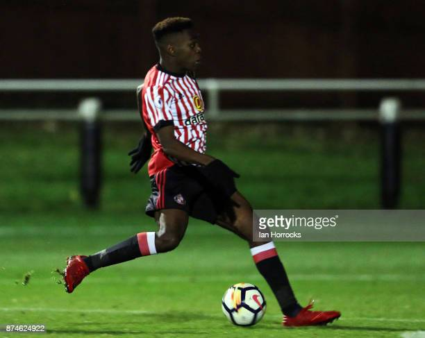 Joel Asoro of Sunderland has a shot during the Premier League International Cup match between Sunderland and Legia Warsaw at Eppleton Colliery...