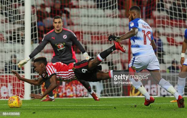 Joel Asoro of Sunderland is brought down leading to a penalty during the Sky Bet Championship match between Sunderland and Reading at Stadium of...