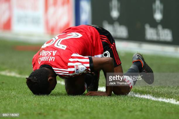 Joel Asoro of Sunderland reacts during the Sky Bet Championship match between Queens Park Rangers and Sunderland at Loftus Road on March 10 2018 in...