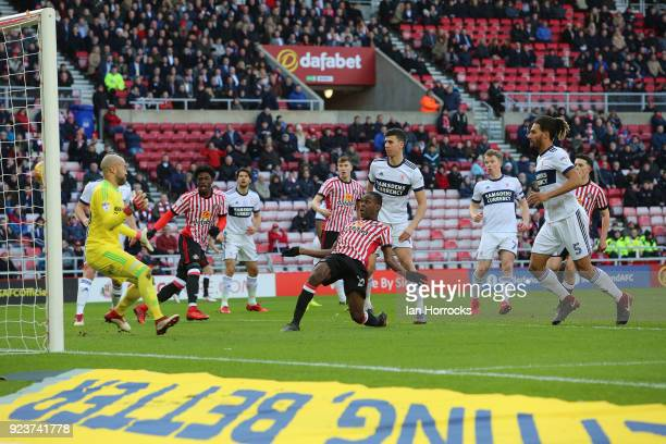 Joel Asoro of Sunderland scores the opening goal during the Sky Bet Championship match between Sunderland and Middlesbrough at Stadium of Light on...