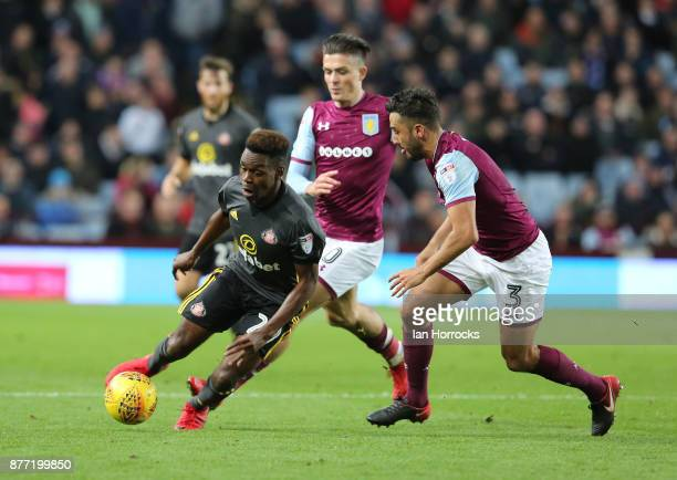 Joel Asoro of Sunderland takes on Neil Taylor of Villa during the Sky Bet Championship match between Aston Villa and Sunderland at Villa Park on...