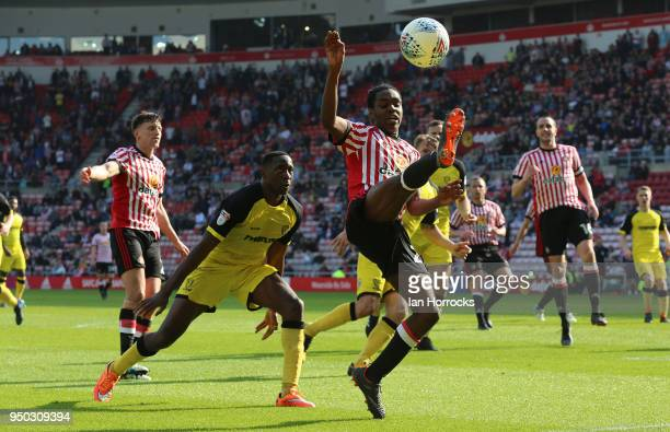 Joel Asoro of Sunderland tries to control the ball during the Sky Bet Championship match between Sunderland and Burton Albion at Stadium of Light on...
