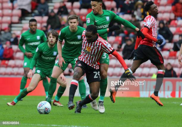 Joel Asoro of Sunderland tries to get a shot on target during the Sky Bet Championship match between Sunderland and Preston North End at Stadium of...
