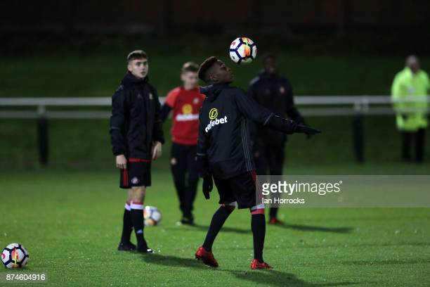 Joel Asoro of Sunderland warms up during the Premier League International Cup match between Sunderland and Legia Warsaw at Eppleton Colliery Welfare...