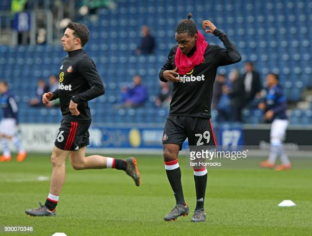 Joel Asoro of Sunderland warms up during the Sky Bet Championship match between Queens Park Rangers and Sunderland at Loftus Road on March 10 2018 in...