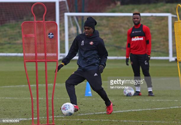 Joel Asoro warms up during a Sunderland training session at The Academy of Light on March 8 2018 in Sunderland England