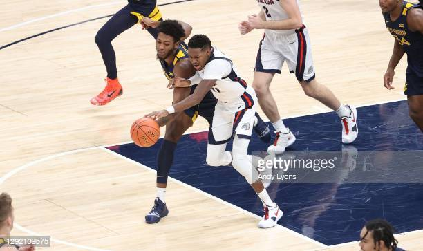 Joel Ayayi of the Gonzaga Bulldogs against the West Virginia Mountaineers during the Jimmy V Classic at Bankers Life Fieldhouse on December 02, 2020...