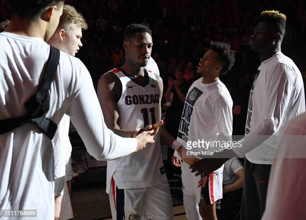Joel Ayayi of the Gonzaga Bulldogs is introduced before taking on the Saint Mary's Gaels in the championship game of the West Coast Conference...