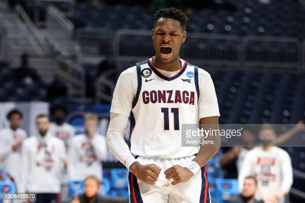 Joel Ayayi of the Gonzaga Bulldogs reacts to a play against the Oklahoma Sooners in the second round game of the 2021 NCAA Men's Basketball...