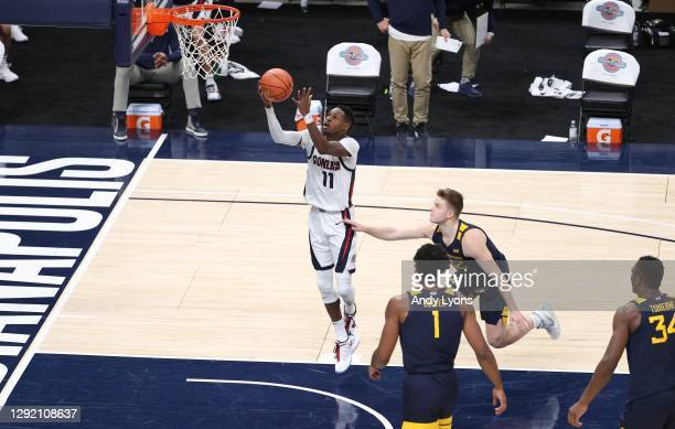 Joel Ayayi of the Gonzaga Bulldogs shoots the ball against the West Virginia Mountaineers during the Jimmy V Classic at Bankers Life Fieldhouse on...