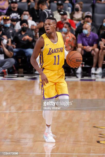 Joel Ayayi of the Los Angeles Lakers dribbles the ball against the Sacramento Kings during the 2021 California Classic Summer League on August 4,...