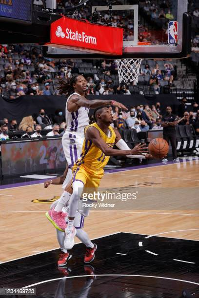 Joel Ayayi of the Los Angeles Lakers shoots the ball against the Sacramento Kings during the 2021 California Classic Summer League on August 4, 2021...